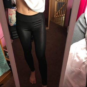 Shiny Black Athletic Leggings